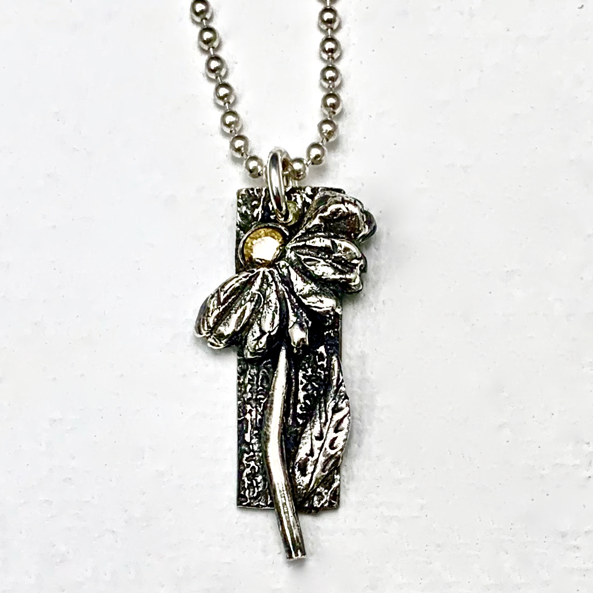 Silver Clay Flower Pendant by Tracey Spurgin
