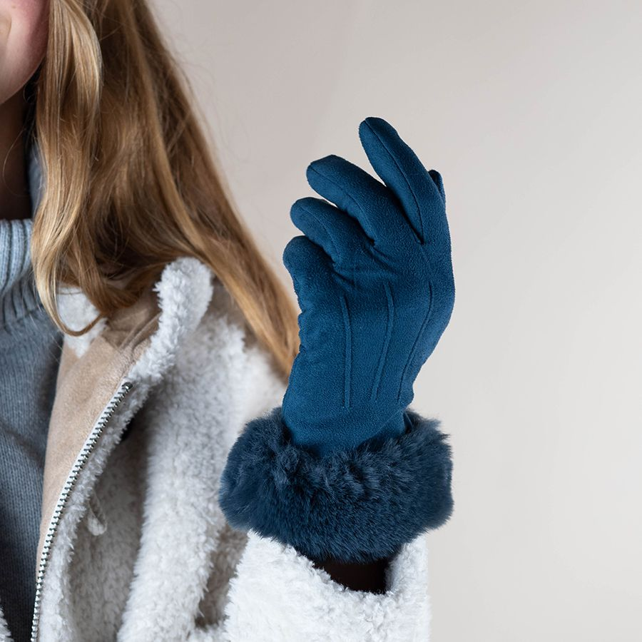 Teal Gloves with Faux Fur Cuff