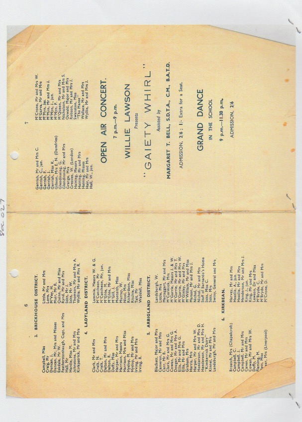 Programme for the Fete held at Cavens House, Kirkbean, on July 21st, 1945 in aid of the Kirkbean Community Centre, pages 6 and 7