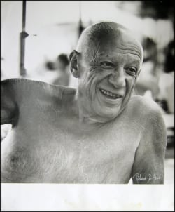 Portrait of Pablo Picasso smiling