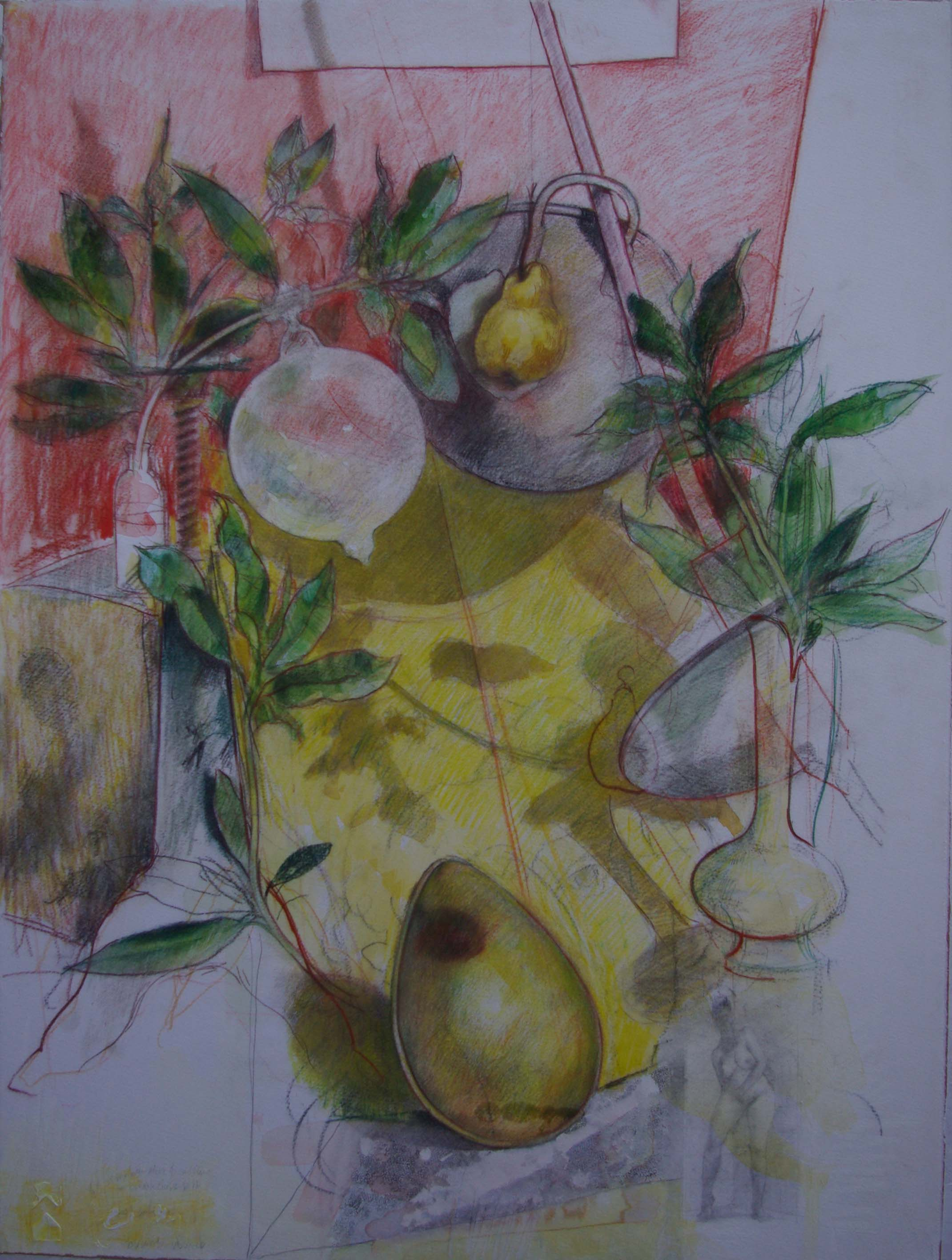 Drawing, crayon and pastel 86 x 64 cms Framed