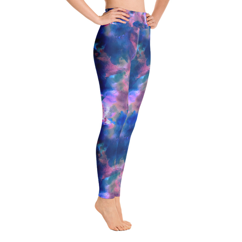 'Blue Watercolours' Yoga Leggings