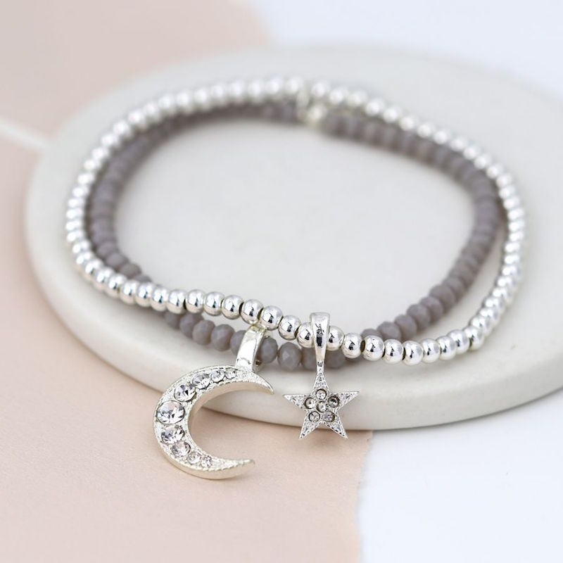 Double Layer Bracelet with Star & Moon Charms