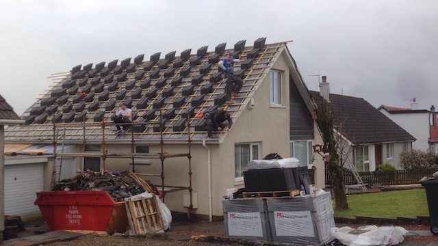 The new underpinnings are in place and the DC Roofcare team has mounted all the new Marley tiles on to the roof ready for placement