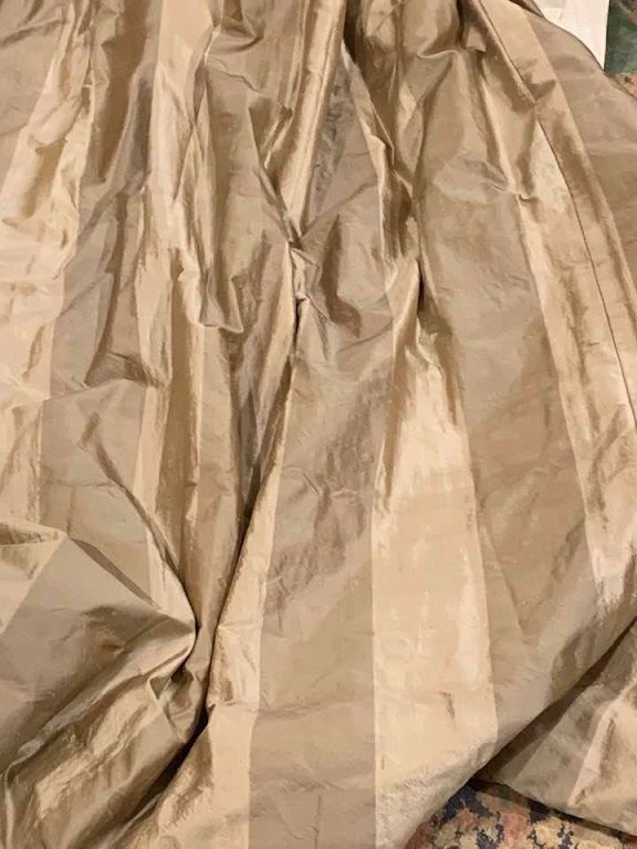 Two Tone Cream Silk Goblet Pleat Curtains W168 D267