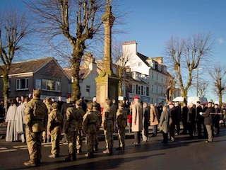 Remembrance Day Parade 2017 in Moffat with crowds around the War Memorial