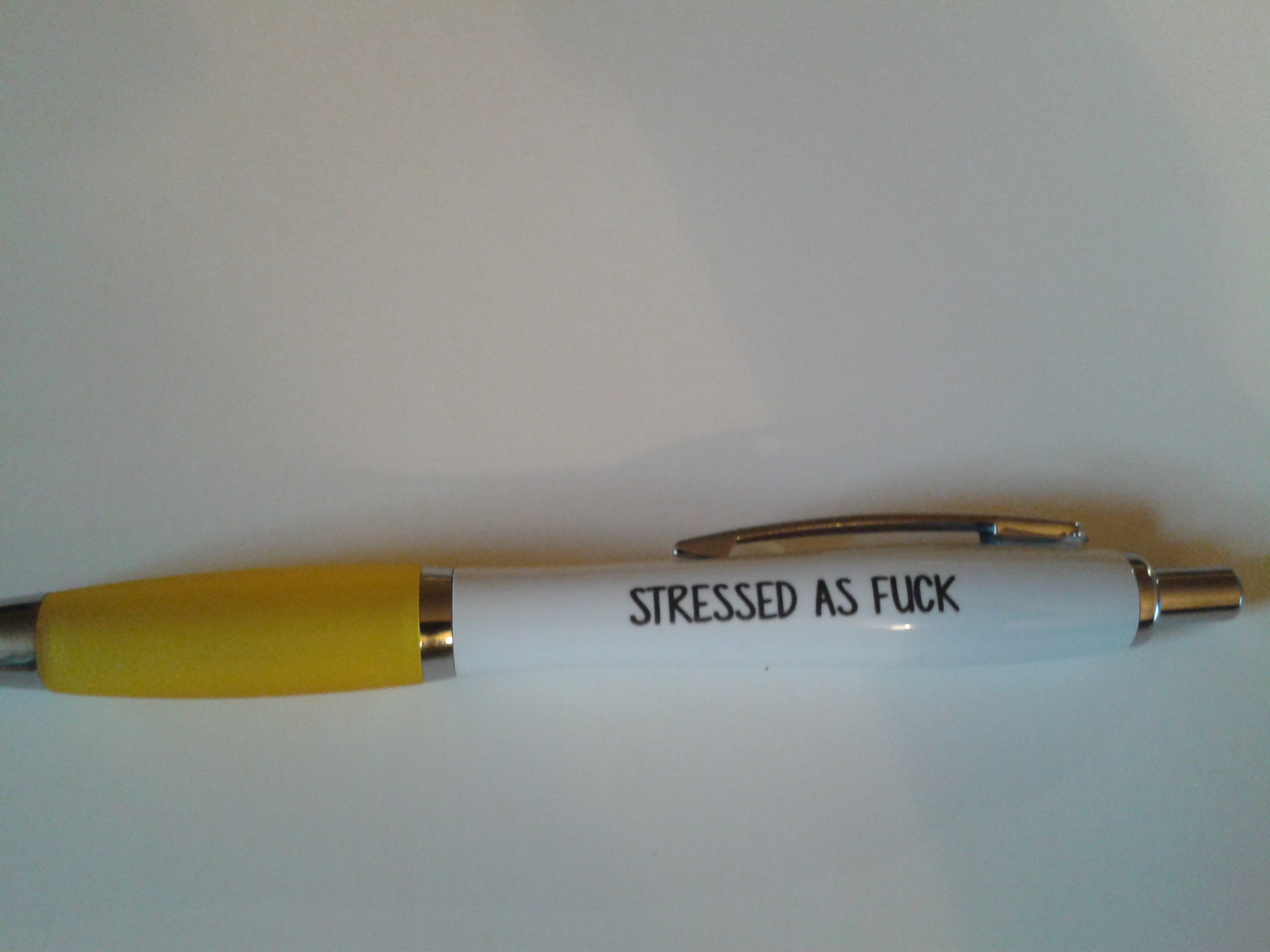Adult Humour ~ Profanity Pen ~ Stressed as F*ck  ~ Yellow ~ Order No 147