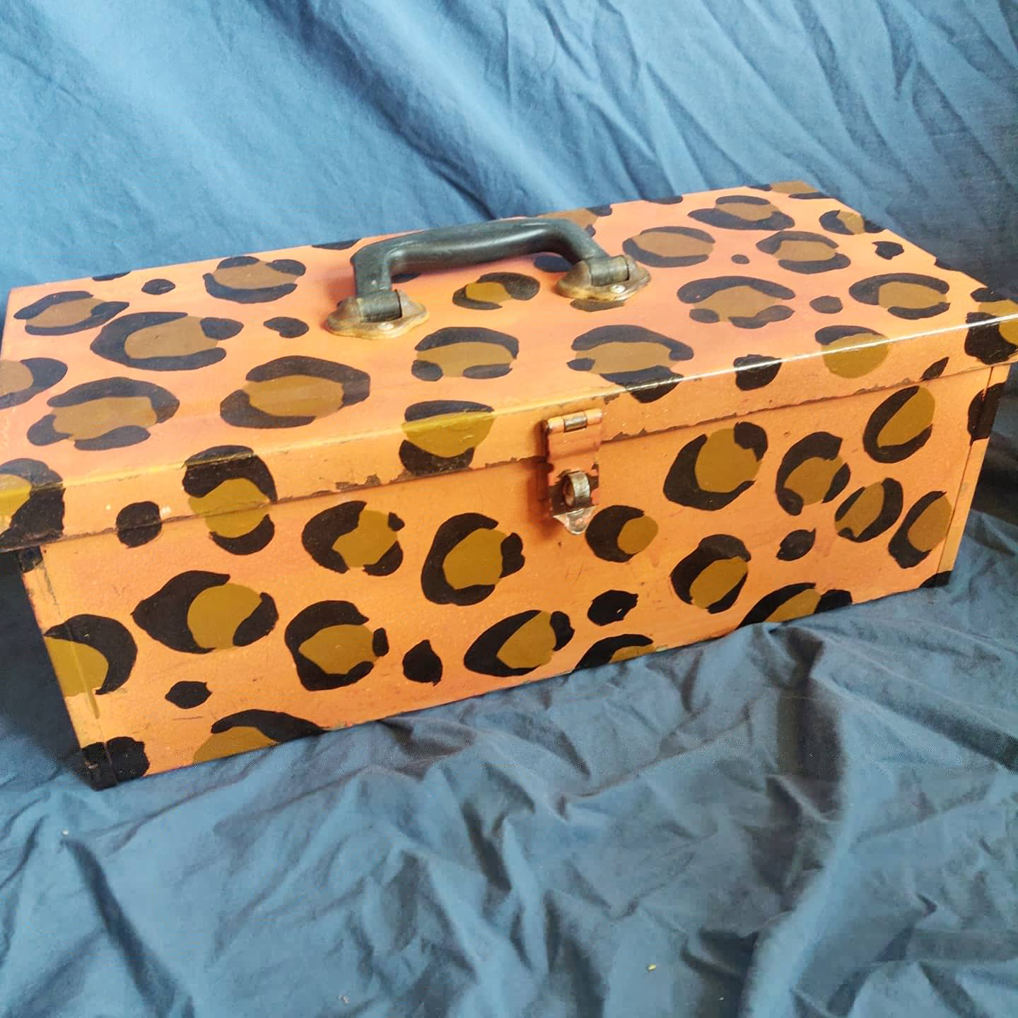 The Leopard Box- repainted 1950s toolbox