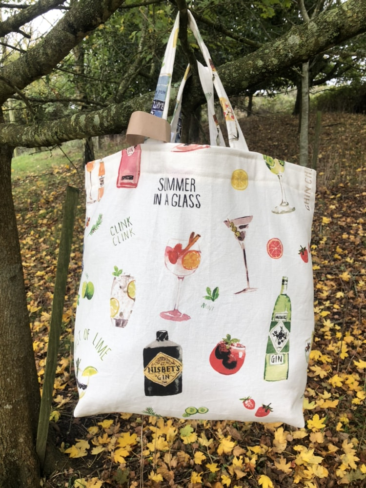 Strong tote bag with Gin and summer drinks motif. £15