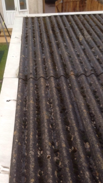 Old corrugated roof needing replaced