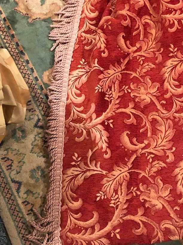 Red/Cream Chenille Damask Pinch Pleat Curtains W188 D277