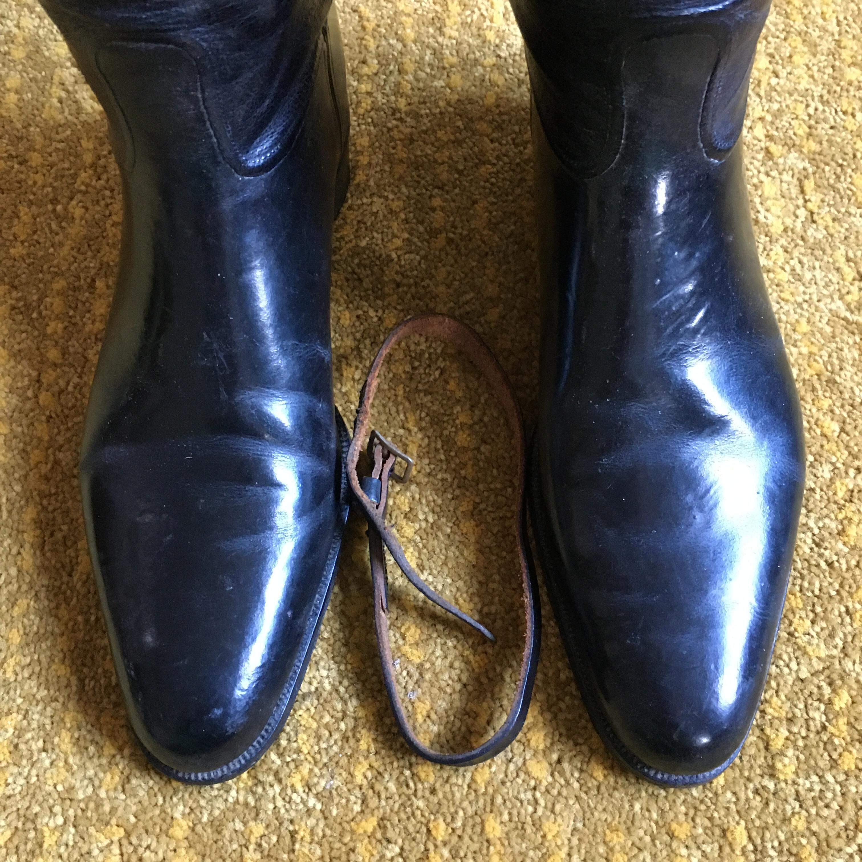 Pair of Black Riding Boots and 4 Part Trees By Maxwell Early 20th Century SOLD