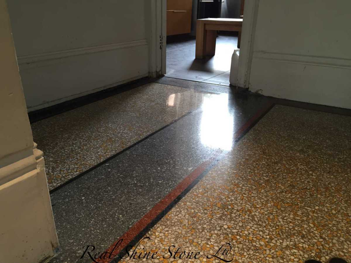 Poured terrazzo after grinding, polishing and sealing.