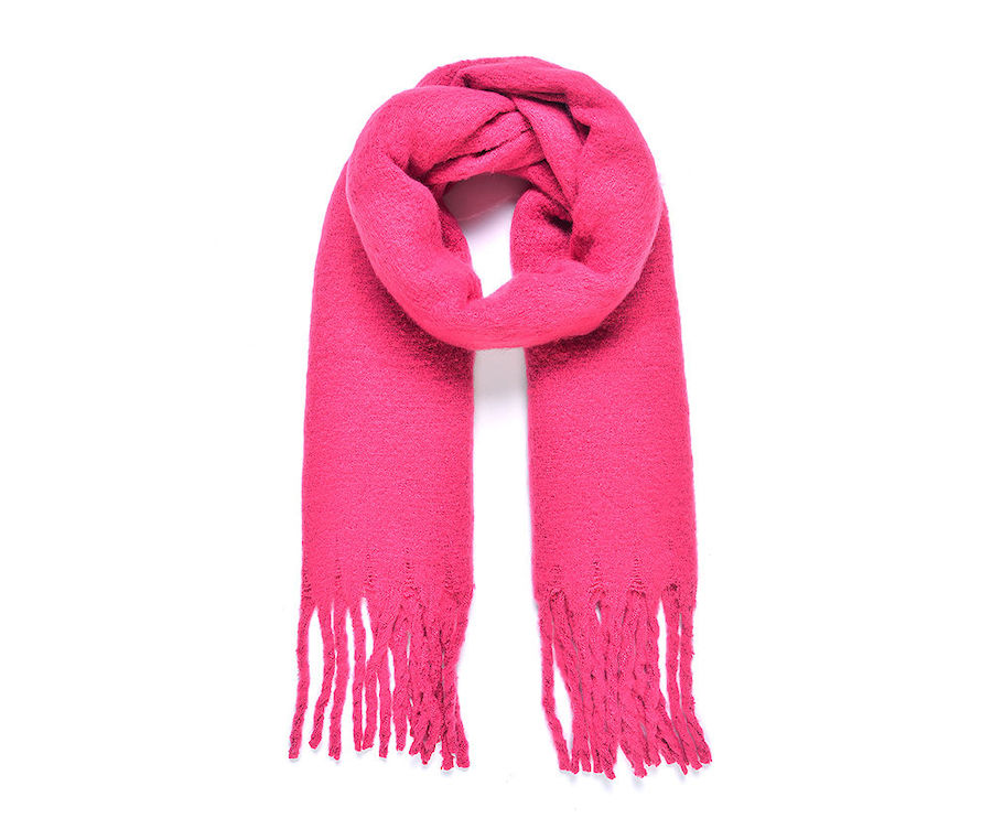 Cosy Blanket Scarf with Tassels in Bright Pink