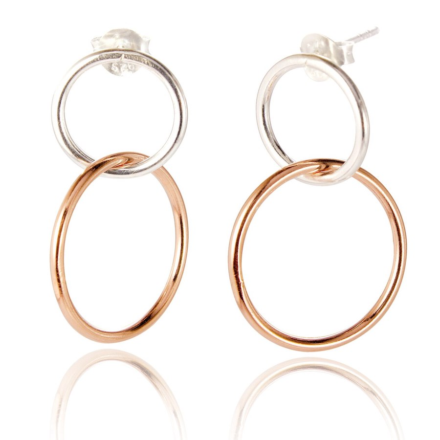 Double Circle Drop Earrings in Silver with Rose Gold Plate