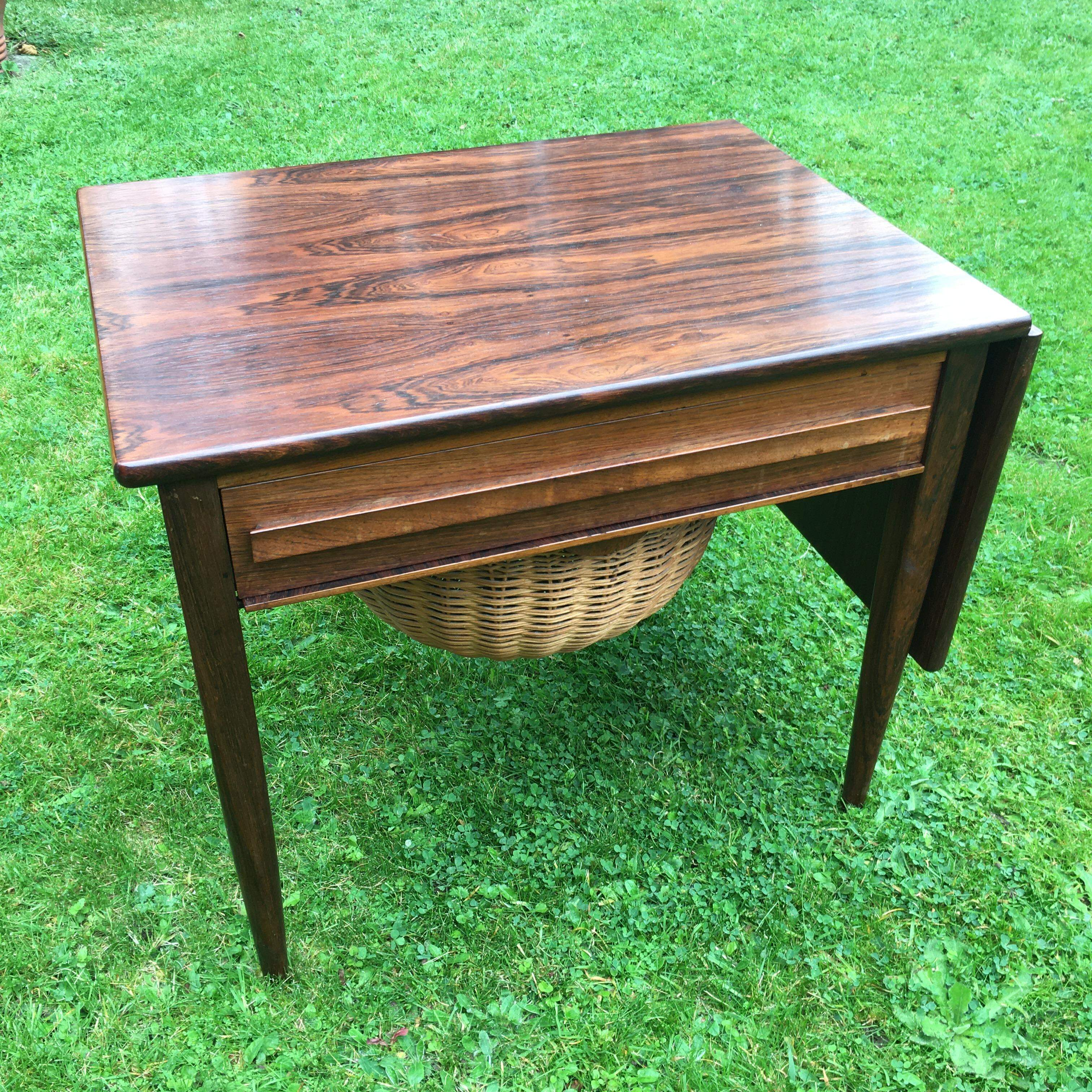 CFC Silkeborg Rosewood Sewing Table Danish 1960's
