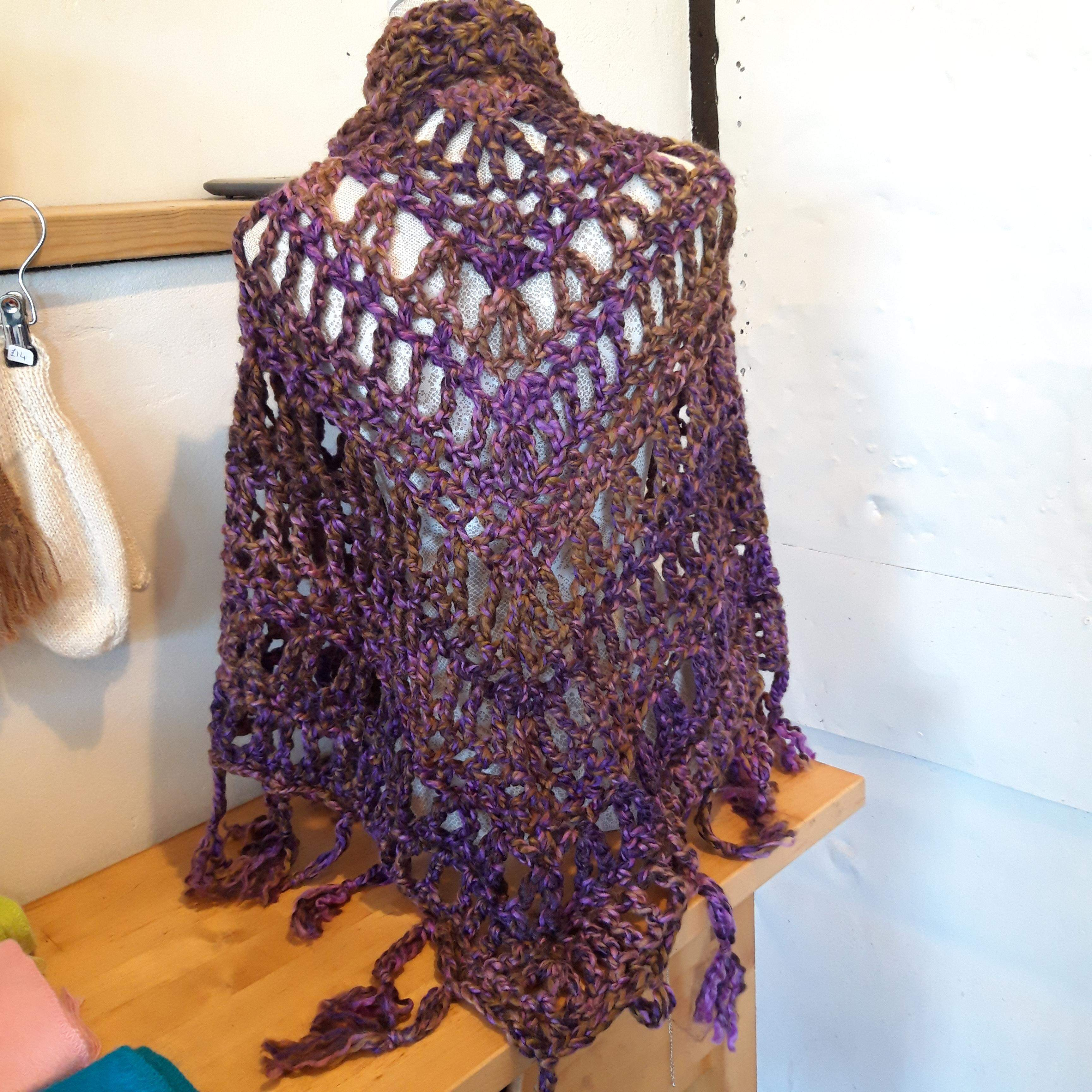 Hand knitted Purple Shawl