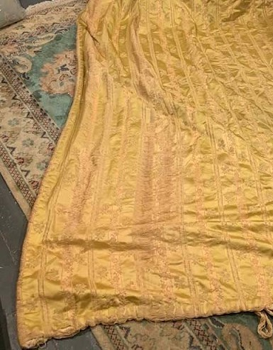 Very Long Antique 'Shabby Chic' Silk Curtains W168 D317