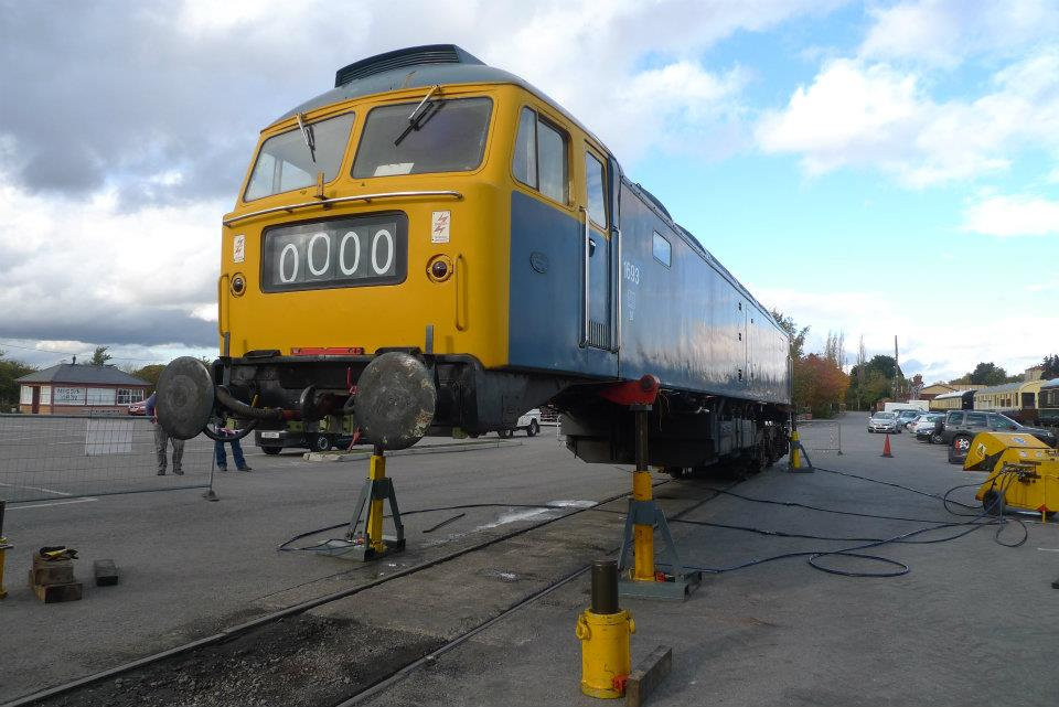 47105 received a refurbished bogie to replace one with excessive wear. 26/10/11  (Ben Elvey)