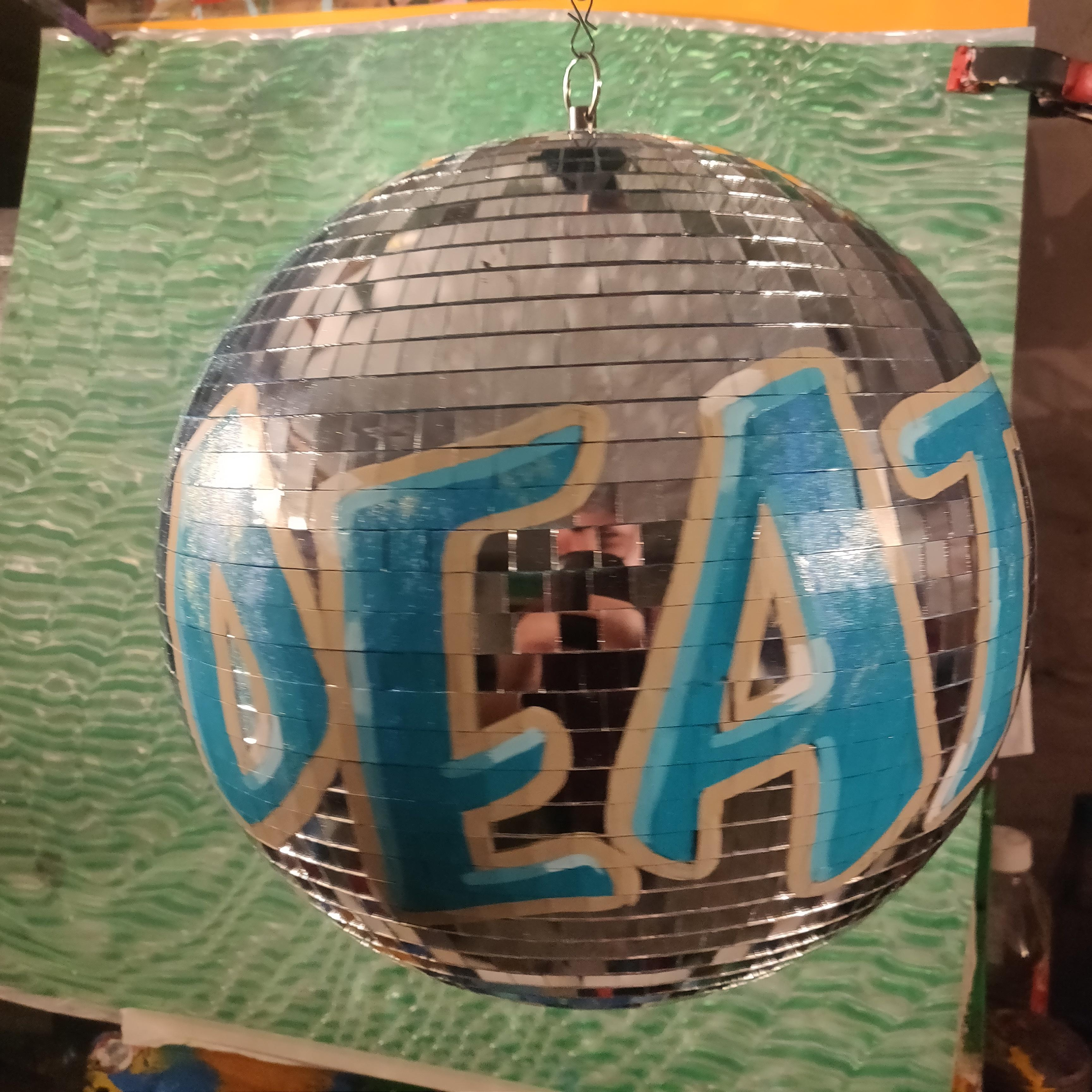 Custom enamel and glitter painted 300mm mirrorball.