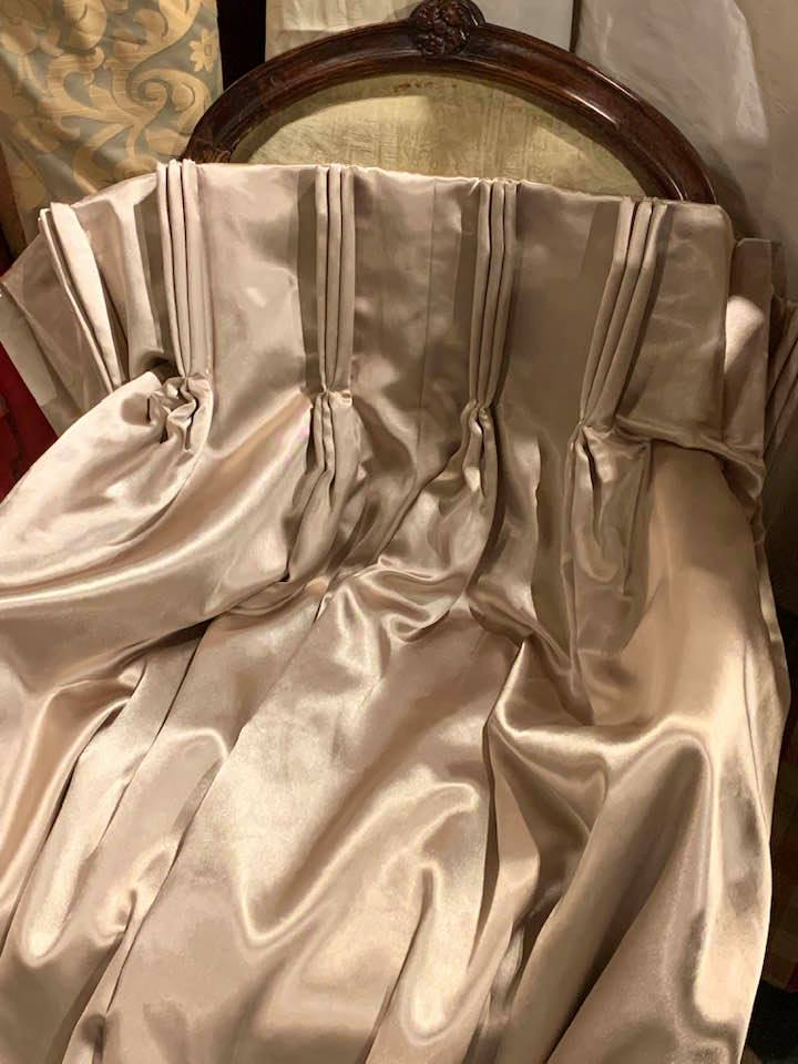 Light Gold Satin Pinch Pleat Interlined Curtains W228 D267