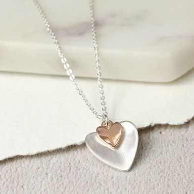 Silver Plated Rose Gold Folded Hearts Necklace POM021