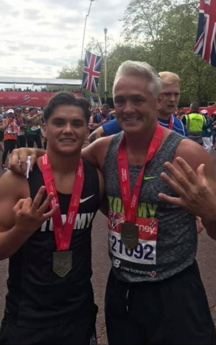 Tommy Roberts Snr and Little Tommy Roberts at the 2019 London Marathon