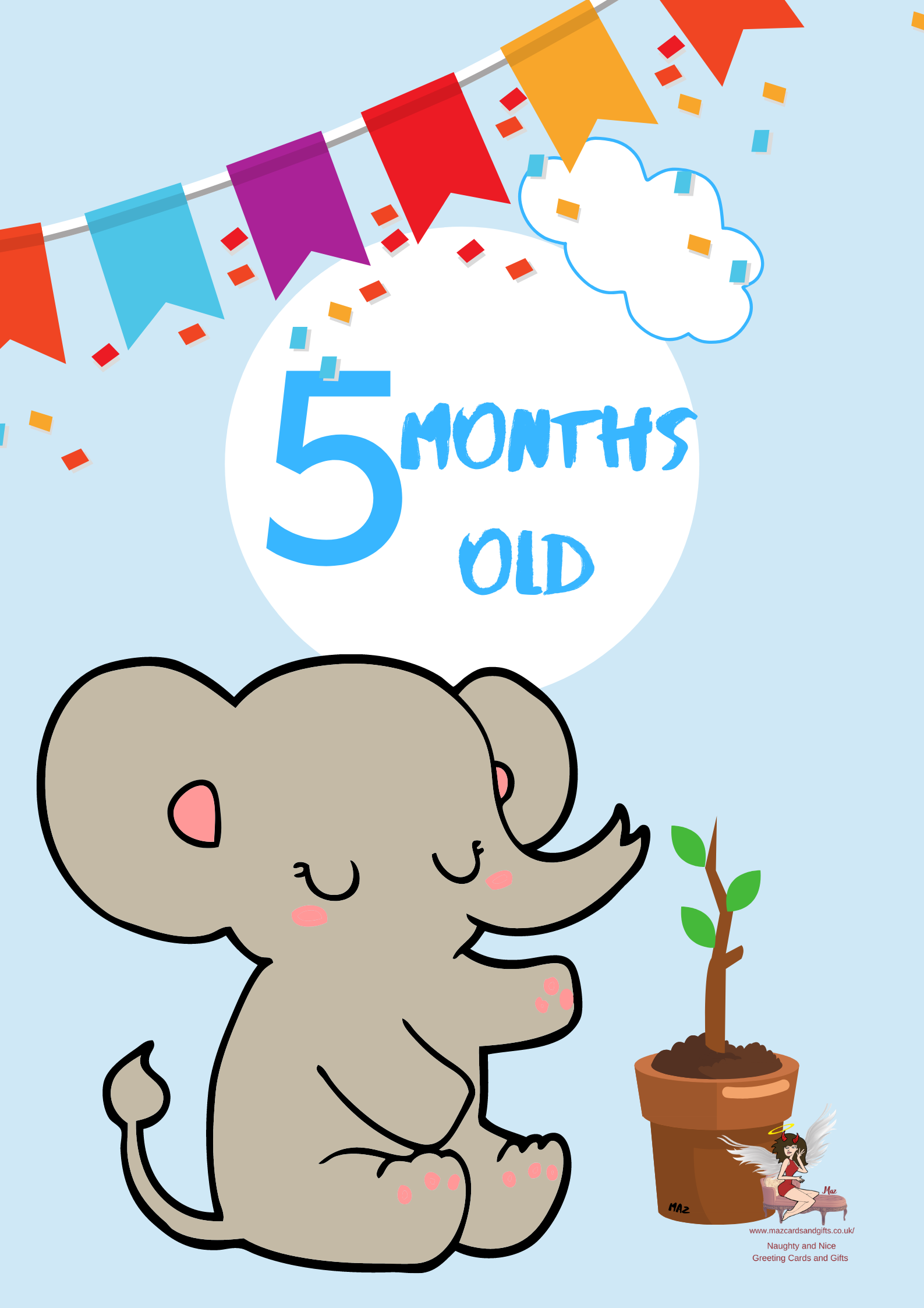 Children's Milestone Cards ~ Animals~ 5 Months old ~ Order No 274