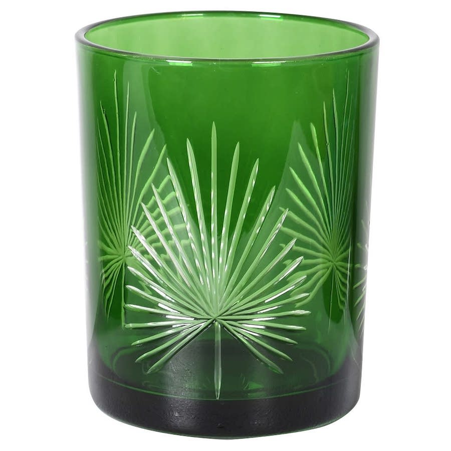 Green Palm Candle Holder