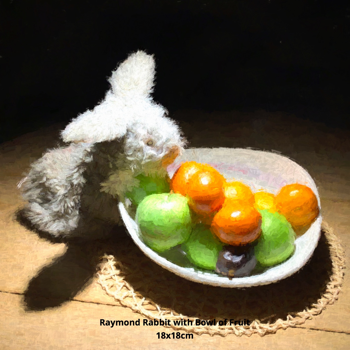 Raymond Rabbit with Bowl of Fruit