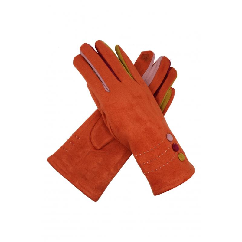 Orange Suede Effect Gloves with Multi-Fingers and Buttons