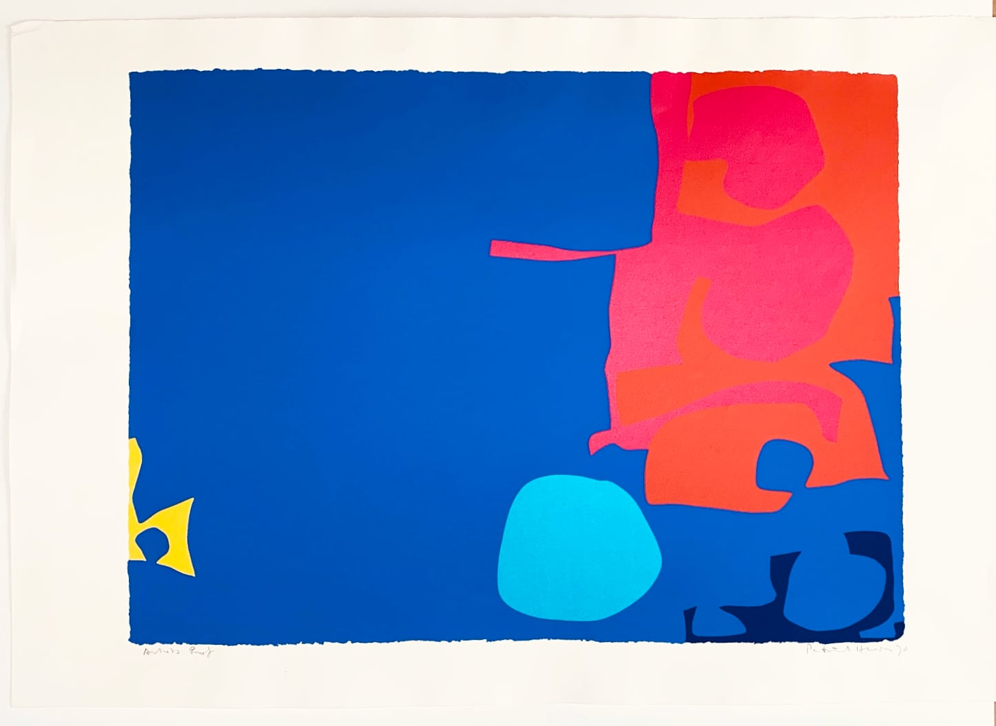 Patrick Heron -  Interlocking Pink and Vermilion with Blue: April 1970