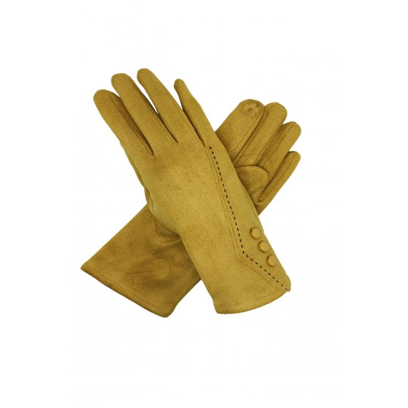 Classic Mustard Yellow Gloves with Buttons