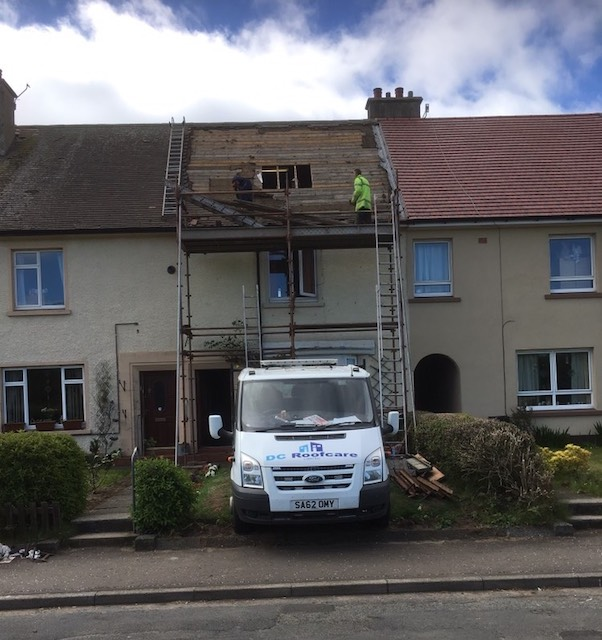 Stripping back the old roof in Troon, Ayrshire