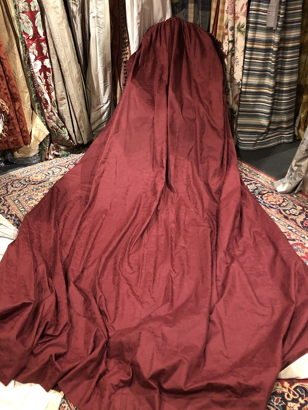Long Maroon Damask Pencil Pleat Curtains W270 D305