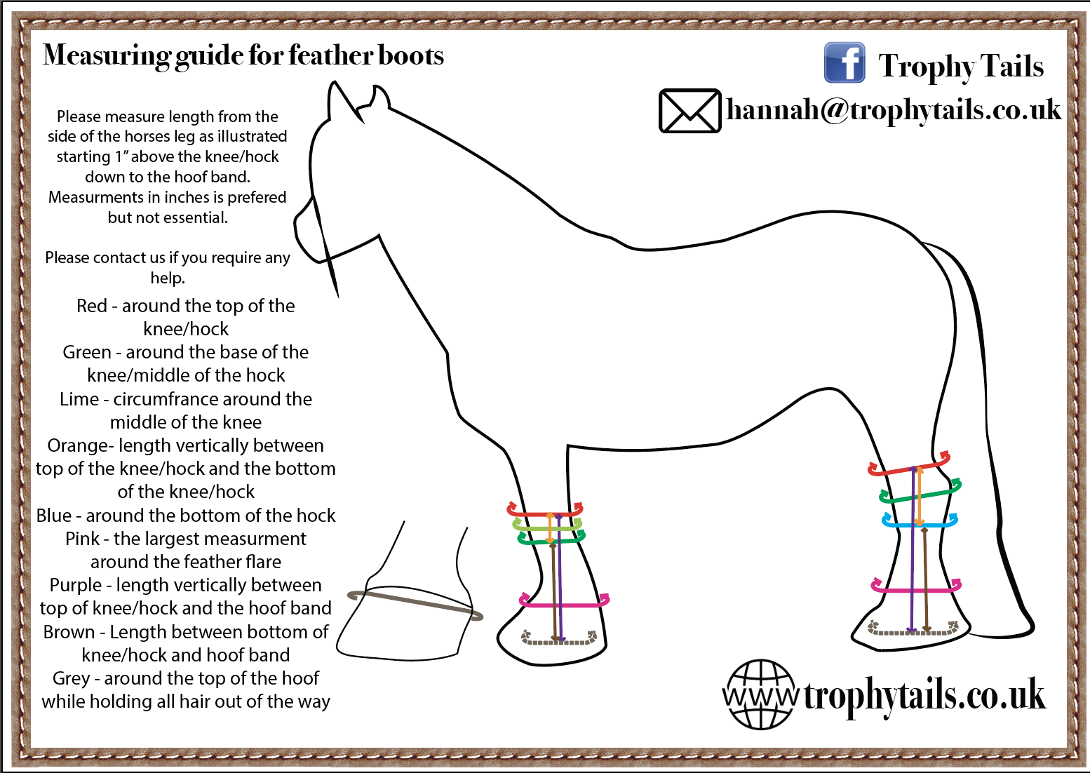 trophy tails feather boots measuring guide