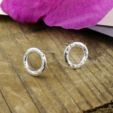 Silver Dot Textured Circle Stud Earrings POM032