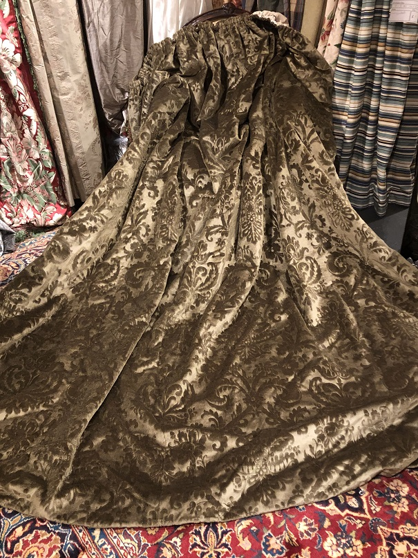 Large Olive Green Velvet Brocade Tape Top Curtains W310 D252