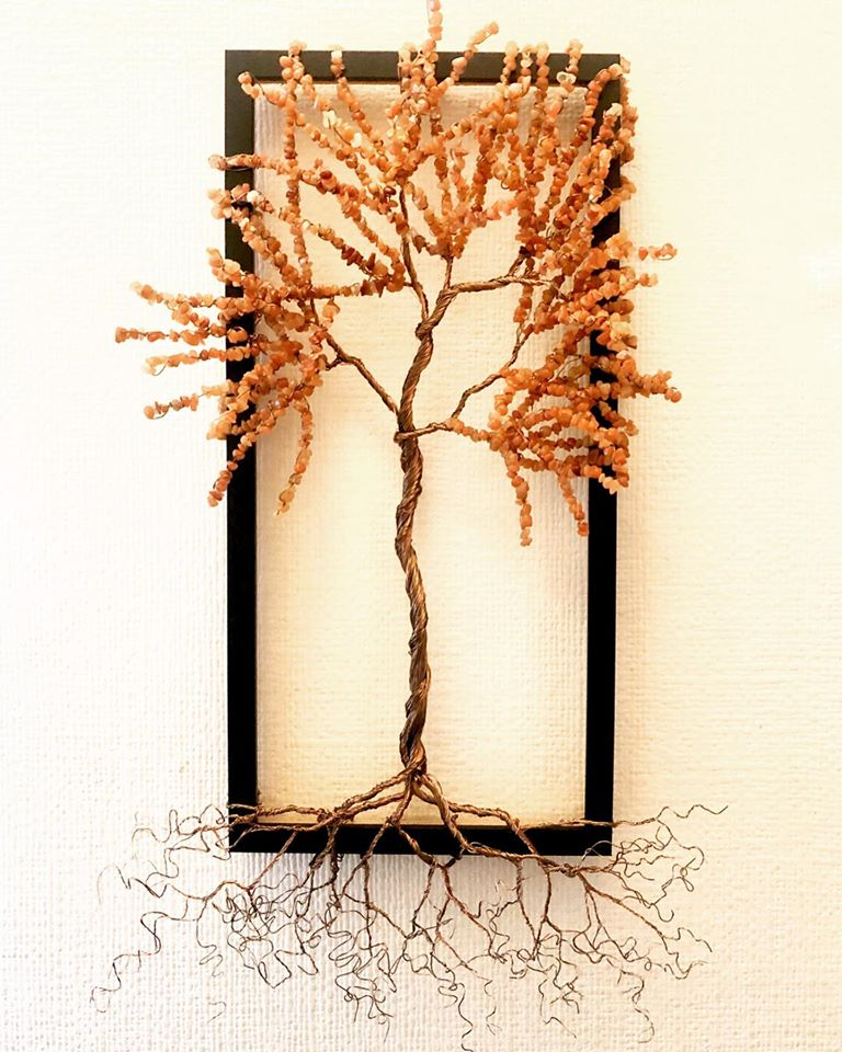 Antique Bronze and Carnelian Autumnal Tree of Life Sculpture