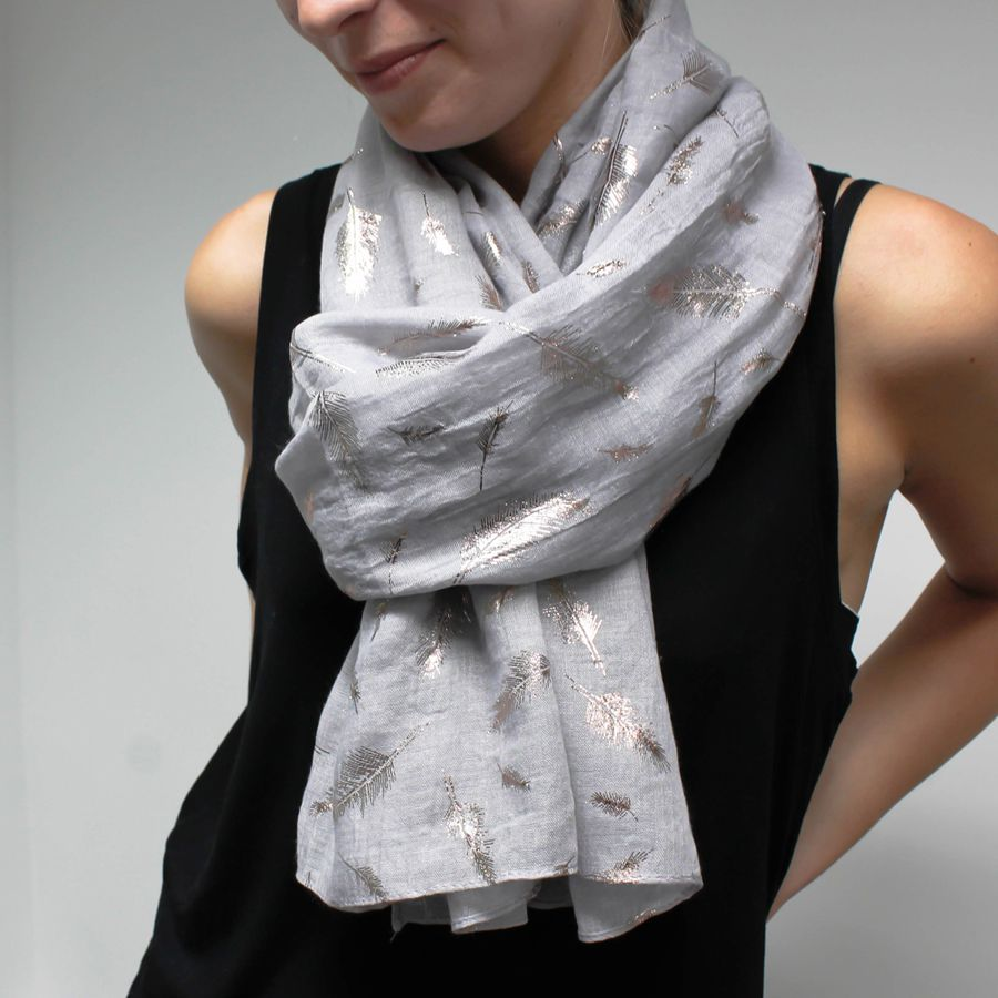 POM014 Grey and Gold Feather Print Scarf