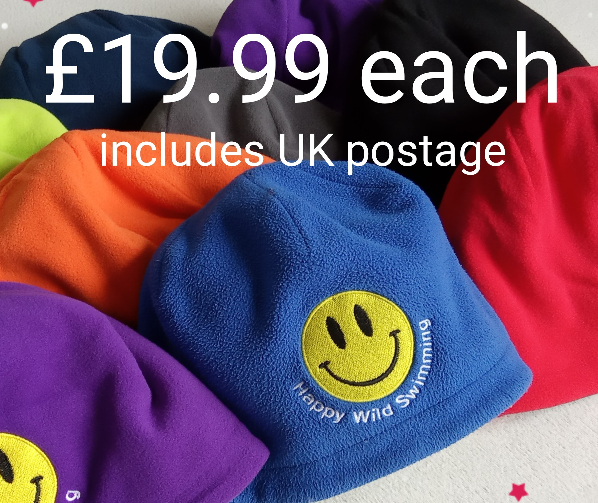 Fleece Beanie Hats - Happy Wild Swimming