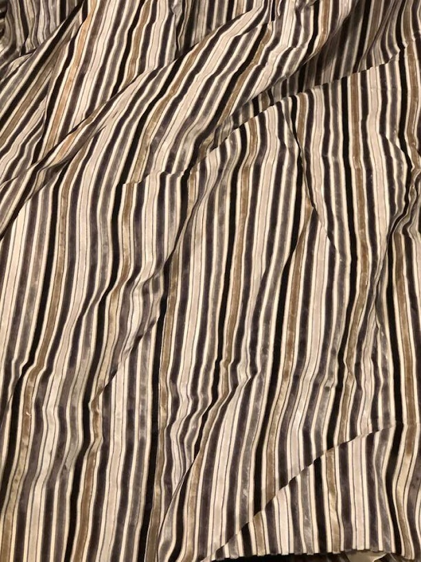 Lovely Striped Blackout Lined Velvet Curtains W320 D235