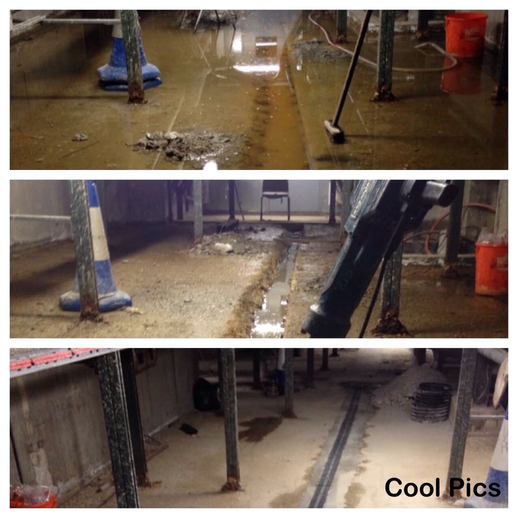 Three part montage showing open drainage gullies being cleaned out and covered over with a metal grille system