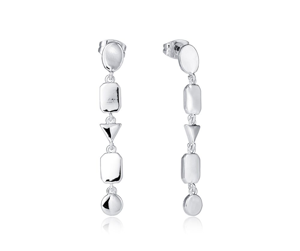 Geo Drop Earrings in Silver - KW009