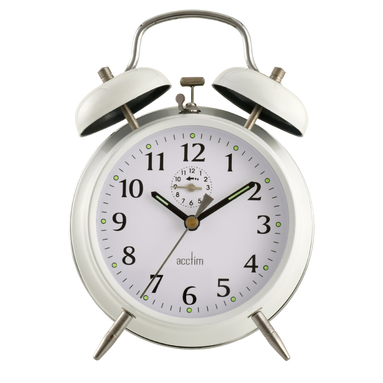 Acctim Saxon Large White Double Bell Alarm Clock