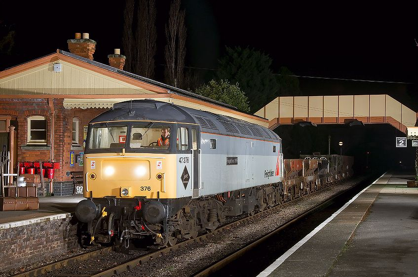 47376 with a freight train whilst shunting 47105 at the EMRPS photo charter 28/01/12  (Jason Cross)