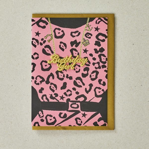 Birthday Girl Card with Pink Leopard Print Dress by Petra Boase