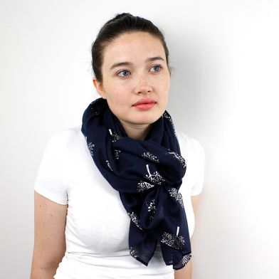 Navy Scarf With Silver Tree Print POM037