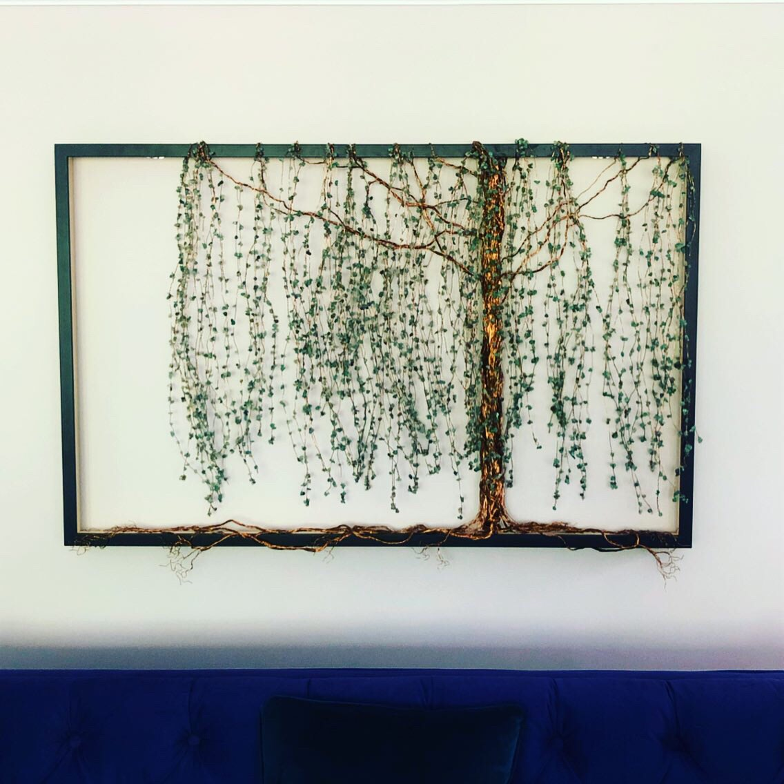 Willow Tree Metal Sculpture in a black frame