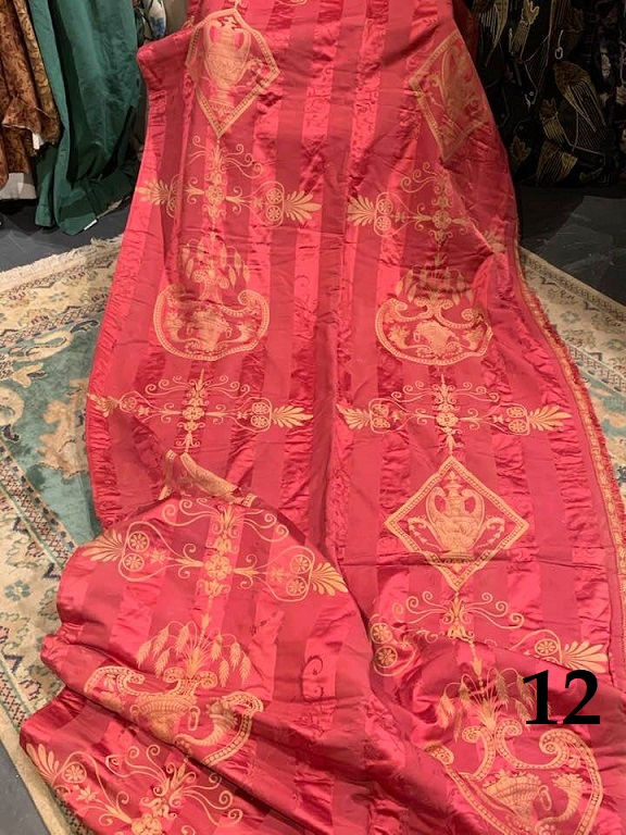 3 Pairs of 19th Century Antique French Empire Silk Curtains